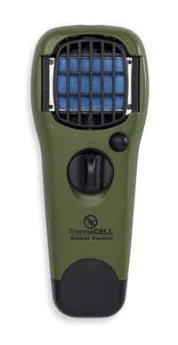 ThermaCell hand-held unit uses butane gas to deter mosquitoes.