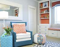 Nursery designed by Erin Sander for her first baby, Ryan. Bright colors were the jumping off point for Sander, a designer.