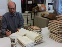 """Actor-author Stephen Tobolowsky signs his book """"The Dangerous Animals Club"""" at Southern Methodist University on Oct. 3, 2012."""