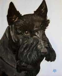 """George W. Bush created this oil painting of Barney. """"Laura and I will miss our pal,"""" the former president said."""