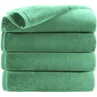 A less expensive way to bring the jewel-tone home: Pantone Universe Emerald bath towels. $15 each at J.C. Penney stores or jcp.com.