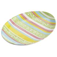 Colorful egg-shaped plates for serving snacks or appetizers foretell the arrival of the Easter bunny. $8 each at Pier 1 stores and Pier1.com.