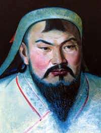 This undated portrait painting obtained 03 October 2005 courtesy of the Mongolian Embassy to the United States shows the 13th century Mongolian warrior Genghis Khan.