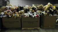 Donations sit in boxes at a warehouse in Newtown, Connecticut, on Thursday, December 27, 2012, where thousands of stuffed animals, toys and other gifts have been arriving after the Sandy Hook Elementary School shooting. (Rick Hartford/Hartford Courant/MCT)(Rick Hartford - MCT)
