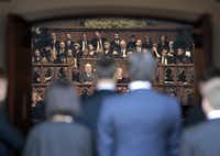 Choir members watched as friends of Van Cliburn entered Broadway Baptist Church. The speeches were interspersed with Russian choral music and traditional spirituals, as well as psalms set to music.Ron T. Ennis - Telegram