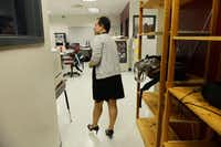 Princess Rodriguez, an urban specialist at DISD's Raul Quintanilla Senior Middle School, walks in to a classroom to get a student for counseling. The urban specialist position is a first for the district and focuses on dealing with cultural and urban issues in the classroom and returning students to school full-time.( Rose Baca  -  neighborsgo staff photographer )