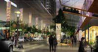 A rendering shows preliminary plans for a redesign of the retail areas of Victory Park.