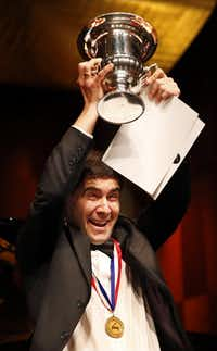Vadym Kholodenko in 2013 after winning the Van Cliburn International Piano Competition at Bass Performance Hall in Fort Worth.  (Tom Fox/The Dallas Morning News)