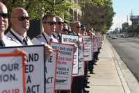 Southwest Airlines pilots picket near the Orleans Hotel and Casino in Las Vegas over the drawn-out negotiations over a new labor contract. (Credit: Southwest Airlines' Pilots Association)