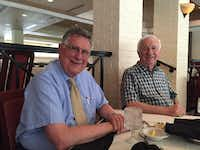 Jim Christon (left) and Angelo Stergios are shown at Vincent's Seafood in Plano on July 27.( Maria Halkias  -  DMN staff photo )