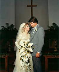 """Anita and Rick Perry wed in 1982 after dating on-and-off for years. """"This is just the kind of stuff fairy tales are made of,"""" his sister says."""