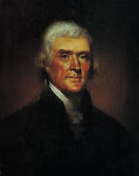 This is an undated photo of a 1800 portrait depicting Thomas Jefferson by artist Rembrandt Peale. The first child born at the White House was the grandson of President Thomas Jefferson. The second child born there was his property - the African-American baby of Jefferson's two slaves.