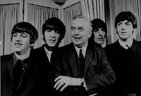 "The Beatles, with Labor Party leader Harold Wilson, 1964. The photo was taken at a presentation ceremony for the variety club of Great Britain's ""Show Business personality"" award for 1963. Wilson presented the group witht the award."