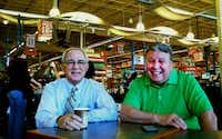 Former city councilman Gary Griffith and David Pittman enjoy a cup of coffee at the Whole Foods in Lakewood. Residents often meet at the grocery store's coffee bar.