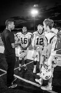 """Dallas Cowboy Terrance Williams (WTW '08/Baylor '12) talked with captains Justin Davis, Jackson Fults, Xavier Land, and Chris Rabroker. Williams was the honorary captain when W. T. White played  at Jesuit in the inaugural """"Battle for the Saddle"""" contest last week. Williams also signed autographs during the pre-game festivities. W.T. White takes on Richardson High School at 7:30 p.m. Friday."""