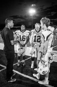 "Dallas Cowboy Terrance Williams (WTW '08/Baylor '12) talked with captains Justin Davis, Jackson Fults, Xavier Land, and Chris Rabroker. Williams was the honorary captain when W. T. White played  at Jesuit in the inaugural ""Battle for the Saddle"" contest last week. Williams also signed autographs during the pre-game festivities. W.T. White takes on Richardson High School at 7:30 p.m. Friday."
