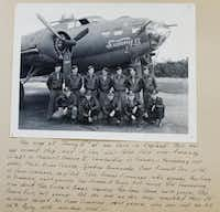 """A photo shows Lt. John """"Lucky"""" Luckadoo (front row, far right) and the rest of the crew of the Sunny II at their base in England. All but one of the men pictured survived a full tour with """"The Bloody Hundredth.""""(Nathan Hunsinger)"""