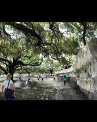 The artist's renderings show a serpentine ribbon of green linking four parks landscaped to complement existing geographic features.