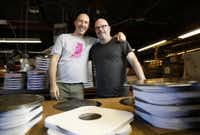 Waric Cameron, left,  and Luke Sardello are owners of Josey Records -- and, now, A&R Record Manufacturing Corp., where this photo was taken October 29. (Rose Baca/Staff photographer)