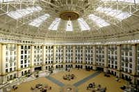 The bright, massive central atrium is the signature of the West Baden Springs Hotel.West Baden Springs Hotel