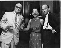 """Thornton Wilder with Ruth Gordon and Garson Kanin in Williamstown, Mass. in 1959. From """"Thornton Wilder: A Life,"""" by Penelope Niven."""
