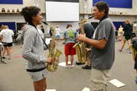Melissa Goytia and Garrison Whadford practice in the new band hall at Wylie East High School. Originally opened in 2007 as a freshman campus, construction on the school is finally complete. This year, the school will open with several additions, including two gyms, band hall, field house, science classrooms and career and technology classrooms.