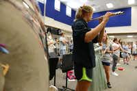 Students practice in the new band hall at Wylie East High School. Originally opened in 2007 as a freshman campus, construction on the school is finally complete. This year, the school will open with several additions, including two gyms, band hall, field house, science classrooms and career and technology classrooms.
