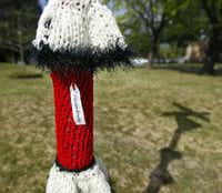 """Local yarn bomber K Witta leaves her calling card, a tag that says """"A Random Act of Art.""""  This yarn bomb is on a sign at the intersection of  Abrams Road and Paulus Avenue."""