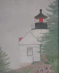 """""""Lighthouse in the Fog"""" by Yvonne HyattColored Pencil Society of America"""