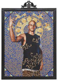 Kehinde Wiley's  show at the Modern Art Museum of Fort Worth includes the work  Leviathan Zodiac , 2011, oil and gold enamel on canvas.(Collection of Blake Byrne, Los Angeles - Collection of Blake Byrne, Los A)