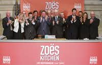 Executives from Zoë's Kitchen celebrated the company's first trading day Friday at the New York Stock Exchange.(Ben Hider - NYSE Euronext)