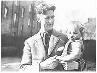 ORG XMIT: *S0407687588* George Orwell is shown in this udated photo with his adopted son Richard. 01112004xARTS