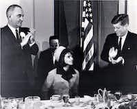 November 22, 1963 - Fort Worth, Texas - Hotel Texas - Lyndon Johnson, Jacqueline Kennedy and John F. Kennedy