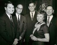 From left: Jim Lehrer (Dallas Times Herald political writer), Robert Baskin (Dallas Morning News reporter), Jimmy Banks (Dallas Morning News reporter), Margaret Mayer (Dallas Times Herald reporter) and Dr. Anthony Kubeck (chairman of the history department of The University of Dallas) on Feb. 19, 1968.