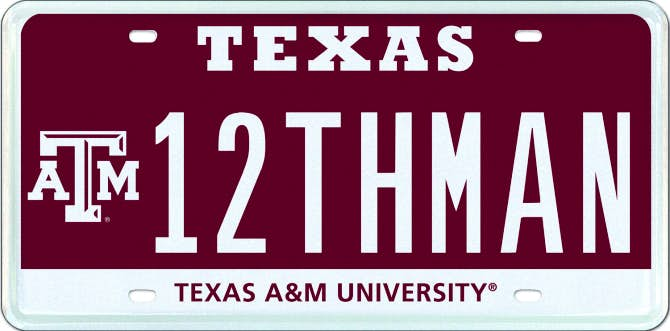 Houston lawyer wins texas a m aggie 12thman plate auction for A m motors houston tx