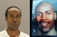Anthony Davis in a Dallas County jail mugshot taken last week, left; and a family photo, right.