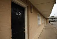 Apartment 1705 at the Oasis in the 2700 block of East Ledbetter Drive. (Nathan Hunsinger/ DMN)