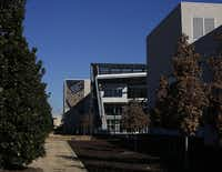A north facing exterior photo of the Edith O'Donnell Arts and Technology Building at the University of Texas at Dallas, in Richardson.
