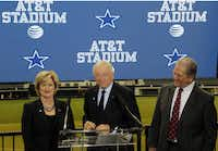Cathy Coughlin, AT&T senior executive vice president, Dallas Cowboys owner Jerry Jones and  Arlington Mayor Robert Cluck were on hand at Thursday's news conference in Arlington announcing the naming rights partnership between the Cowboys and AT&T.