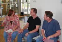 Suzanne Smith (from left), Robb Hudspeth and David Stewart talk before auditioning for Monsters in My Closet on Saturday. The three were among 30-plus trying out for just four roles in the production.
