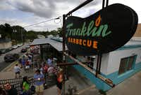 Long lines form outside Franklin Barbecue in Austin, Texas, the first stop on the Austin BBQ Tour. The first people in line arrived at 8 a.m. for am 11 a.m. opening.