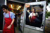A large poster of the late  legendary pitmaster Bobby Mueller hangs on the back door to La Barbecue, which is owned by Bobby's daughter LeAnn Mueller.