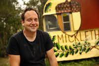Micklethwait Craft Meats pit master Tom Michlewait in front of his trailer parked in a lot five blocks east of Franklin Barbecue on Rosewood Ave in Austin. By the time the Posse got there, he had run out of meat for the day.