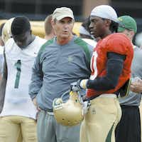 Baylor coach Art Briles and quarterback Robert Griffin III at a scrimmage on Aug. 13, 2011. (Rod Aydelotte/Waco Tribune-Herald)