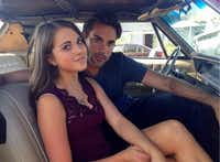 Anne Winters and Drew Fuller pose behind the scenes of Showtime's Fatal Instinct.( Photo submitted by ANNE WINTERS )