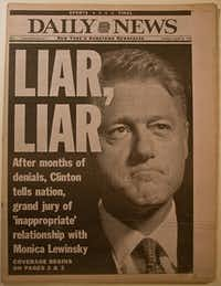 President Bill Clinton was impeached by the U.S. House on charges of perjury in the Monica Lewinsky scandal in 1998.