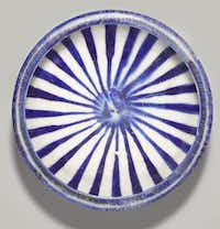 Blue and White Bowl, 13th Century Iran, Kashan Fritware, painted in cobalt blue under transparent glaze Diameter: 17.6 cm; height: 9.3 cm Brooklyn Museum, Brooklyn, USA