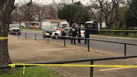 The scene of this morning's ishooting/accident, courtesy KXAS-Channel 5