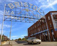 The welcome sign on State Street has greeted drivers to Bristol, Tennessee and its heritage-laden downtown since 1910. The sign is on the National Register of Historic Places.