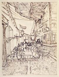 """Vincent van Gogh's pen and ink Café Terrace on the Place du Forum is included in """"Mind's Eye.""""Dallas Museum of Art"""